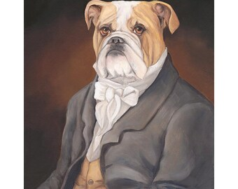 English Bulldog Prints, Daniel Bullworth, Handsome Dan, Dogs in Clothes
