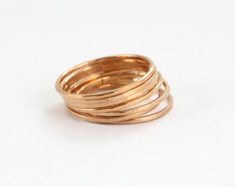 14K Rose Gold Plated Stack Ring- Sterling Silver Stacking Rings - Gold Stack Ring - Main material Sterling Silver - Stackable Ring