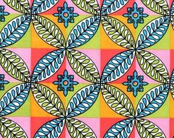 1 Yard Flights of Fancy TILED GARDEN Paula Prass Mosaic Medallions Plaid 3887 - SPRING Michael Miller Quilting Sewing Fabric
