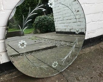 Lovely Large Art Deco Round Mirror - Lovely bevelling shape with lovely scallops.