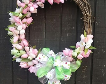 Door wreath, tulip wreath, wreaths, pastel wreath, floral wreath, Spring Wreath, Tulip Spring Wreath Custom, Spring Decor, Easter Wreath,