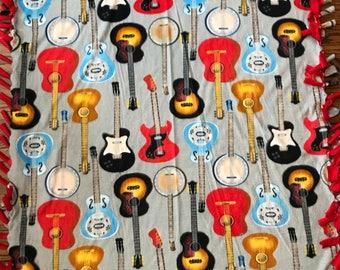 Guitar Fleece Tie Blanket