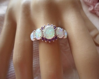 Antique Art Deco vintage Sterling Silver Dress Ring with Opals and Amethysts very large ring size 12 or Y