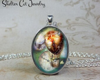 Steampunk Hot Air Balloon with Clock Necklace - Oval Pendant or Key Ring - Photo Art Jewelry - Romantic, Goth, Gothic, Clock Vintage Gift