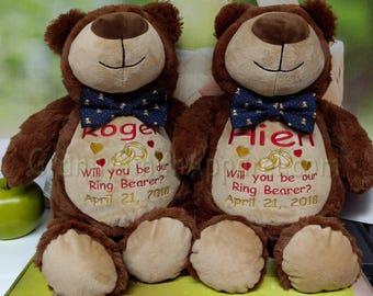 Ring-BEARer gift. Stuffed animal plush custom embroidered in your wedding colors! plushie stuffie. Christmas. Baby, shower, flower girl,