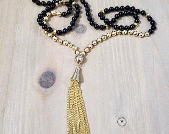 Gold Hematite & Black Onyx Statement Necklace | Tassel Y Necklace | Tassel Pendant Necklace | Gold Tassel Necklace | Boho Tassel Jewelry