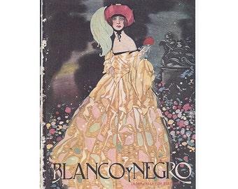 Blanco Y Negro Magazine Cover, 1920s, La Dama La Flor Por Ochoa by Enrique Ochoa
