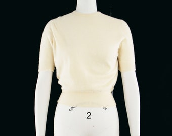 Vintage 1950s Pull over Sweater - Hadley - Butter Yellow - Crew Neck - Short Sleeve - Small  - Ready to Wear