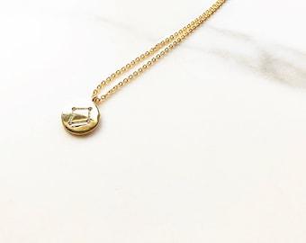 Small 'Libra' Zodiac Charm Necklace