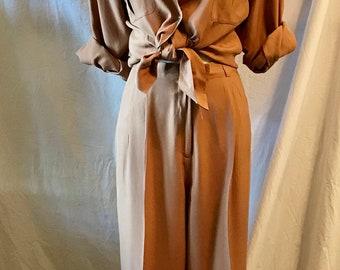 warm cinnamon silk suit