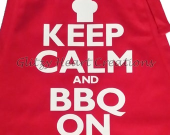 Apron, Keep Calm and BBQ On design, bbq apron, kitchen apron, cooking apron, apron with pockets, adjustable neck apron, bbq humour,