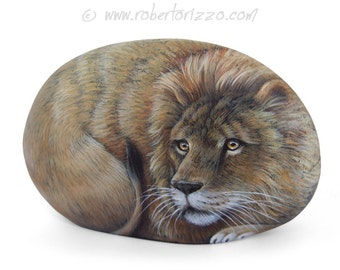 Hand Painted Stone Lion | Wildlife Rock Art by Roberto Rizzo | A Unique Artwork and a Great Gift Idea for Nature Lovers!