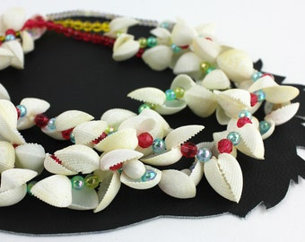 Three Little Girl White Shell & Colorful Beaded Necklaces