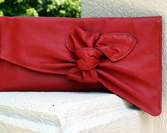 Red Leather and Denim Envelope Handbag with a Twist