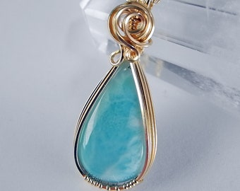 Larimar Teardrop Pendant in Gold, Caribbean Blue, is a Perfect Gift for Mom On Mother's Day, Wedding, or Birthday