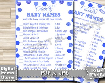 Baby Shower Celebrity Baby Game Blue Dots - Celebrity Baby Names Printable Shower Game with Blue Polka Dots - Instant Download - bd2