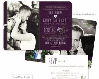 Photoshop Template - Rustic Outdoor Wedding Invitation - Photo Card 080