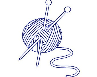 Embroidery Bluework, Redwork Design File Knitting Needles and Yarn, Great for Tote Bag, Gift Bag