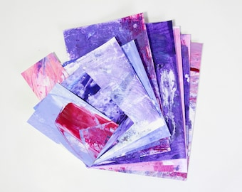 Hand Painted Paper Ephemera Scrap Paper Pack - A4 assorted weight papers for scrapbooking/card making/collage/journaling - purple