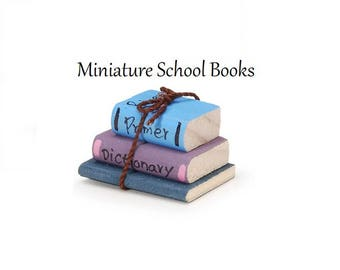 Miniature School Books, Dollhouse Miniatures