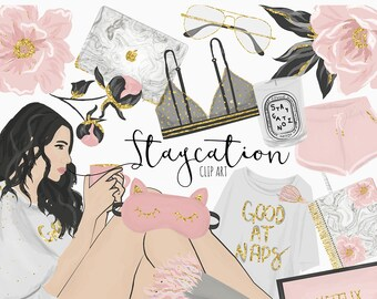 Staycation clip art | Digital Art | Marble and glitter