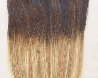 """18"""", 20"""", 22"""" 24"""" 100% Ombre BALAYAGE Clip in Human Hair Extensions 7Pcs,14 clips # T2-18/613"""