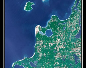 Sleeping Bear Dunes National Lakeshore Michigan Satellite Poster Map