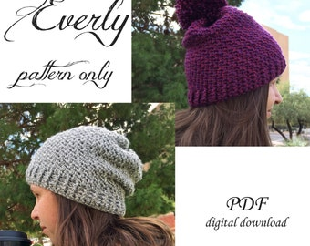 Everly Beanie Crochet Pattern / Adult Beanie Crochet Pattern / Adult Toque Crochet Pattern