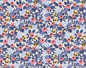 Cotton + Steel- Rosa in Periwinkle- Les Fleurs- Rifle Paper Co.