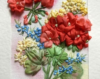 Lovely Nanny's Garden, Red Geraniums  Silk Ribbon Embroidered Card