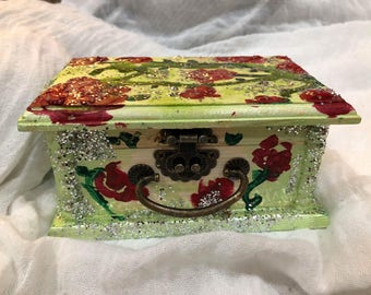 Small Hand-Painted Box with Roses and Glitter