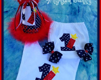 4th of July Cake Smash, 3 Pc. SET, Birthday Hat, Bib and Ribbon Bloomers  Sz. 3 Months to 2T  by GINGHAM BUNNY