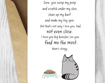 UK Father's Day Cards, Cat Dad Fathers Day Card, Printable Father's Day Card, Funny Father's Day Digital Card, Fur Baby Instant Download