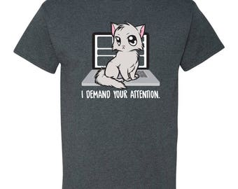 I Demand Your Attention Cat Basic Cotton T Shirt