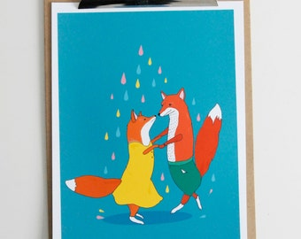 Dancing Foxes - Illustrated Art Print