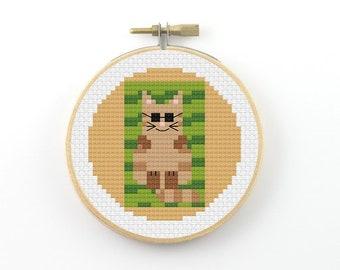 Summer cat on beach towel cross stitch pattern, cat cross stitch, cat pfd pattern, beach cross stitch, summer cross stitch, sun tanning cat