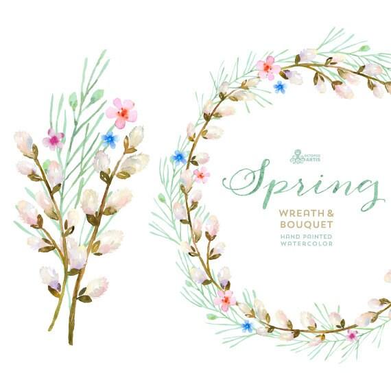 Spring Wreath & Bouquet Flowers Clipart. Handpainted