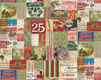 Tim Holtz - Merriment- 25th Twenty Fifth Christmas Sticker Stamp Label Holiday Fabric PWTH080 BTY