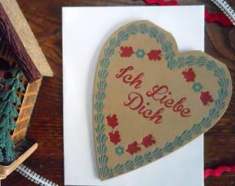 lebkuchen valentine cookie german valentines day sweetest day lobe letterpress heart blue red greeting card cookie cute food die cut retro