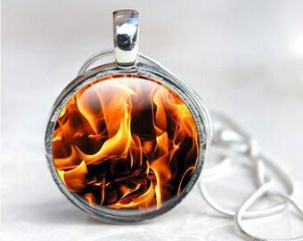 Fire Necklace, Fire Flame Pendant Necklace - flames, hot elemental jewelry, Pendant Necklace, Picture Photo pendant, orange, black, Glass
