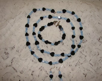 Black Onyx Hearts With Blue Tiger Eye Beaded Necklace, Bracelet and Earrings Set