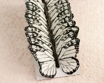 Black And White Butterflies 12 Monarch Bird Feather Butterflies / Extra Large 5 inch wingspan size / Bridal Bouquet / Big Butterflies