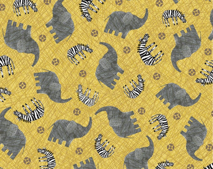 """25"""" REMNANT Amboseli - Elephants and Zebras in Gold - Cotton Quilt Fabric - by Bethany Shackelford for Quilting Treasures (W1993)"""