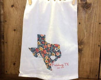 Frelsburg, TX Custom Graphic Tea Towel