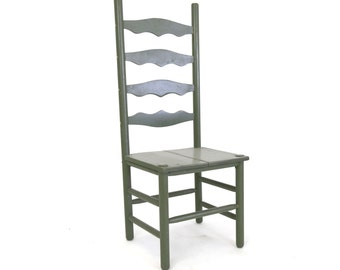 Primitive Hardwood Ladderback Accent Chair Antique Green