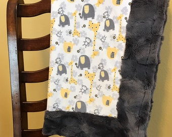 "Jungle Minky Blanket - Gray and Yellow Baby Blanket - Baby Blanket size (28""x38"")"