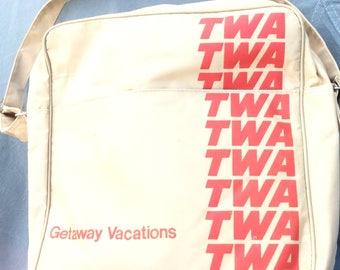 TWA Getaway Vacations travel bag  vintage 1970's Tote