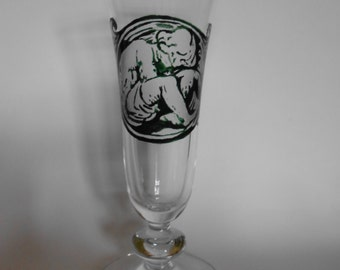 """Engraved and painted champagne flute """"Phantasy"""" handmade"""