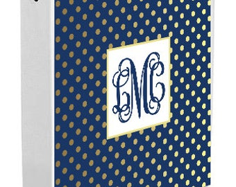 Personalized Binder Cover, Navy & Gold Dots