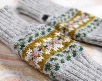 Fair Isle Fingerless Gloves, Knit to Order, Grey, Olive Green, Pink, White Lambswool, UK Seller